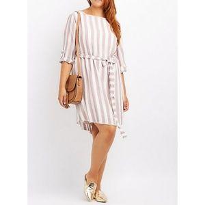 Belted Striped Shirtdress